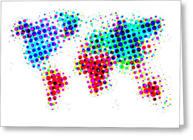 Atlas Greeting Cards - Dotted World Map 4 Greeting Card by Naxart Studio