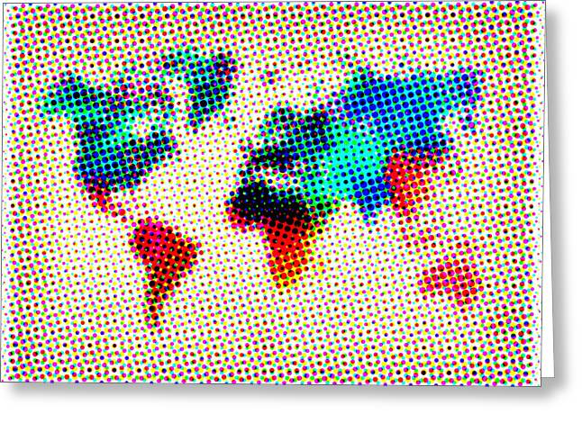 Atlas Greeting Cards - Dotted World Map Greeting Card by Naxart Studio