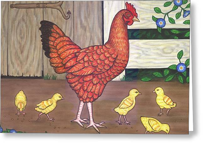 Rooster Greeting Cards - Dottie the Chicken Greeting Card by Linda Mears