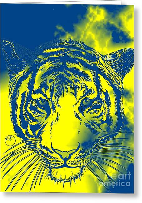 Justin Moore Digital Art Greeting Cards - Dou Tone Tiger Greeting Card by Justin Moore