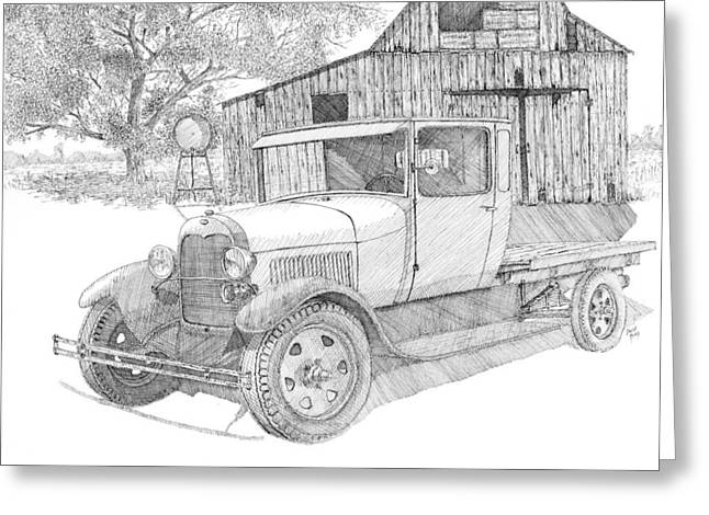 Truck Drawings Greeting Cards - Double A Farm Greeting Card by David King