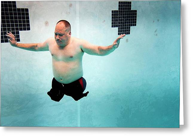 Double Amputee Swimmer Greeting Card by Us Air Force/mark Fayloga