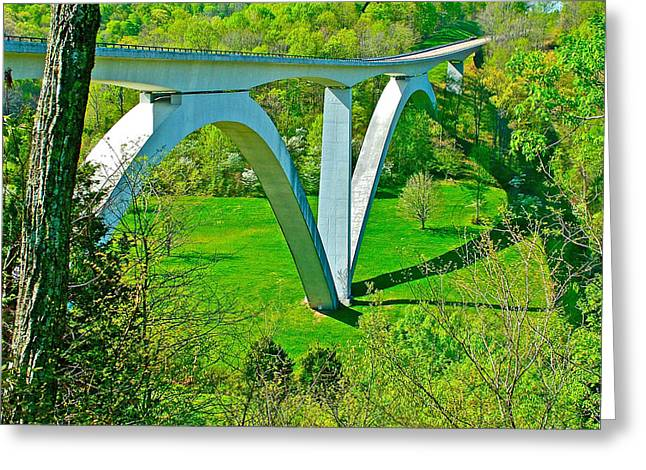 Double-arched Bridge Spanning Birdsong Hollow At Mile 438 Of Natchez Trace Parkway-tennessee Greeting Card by Ruth Hager