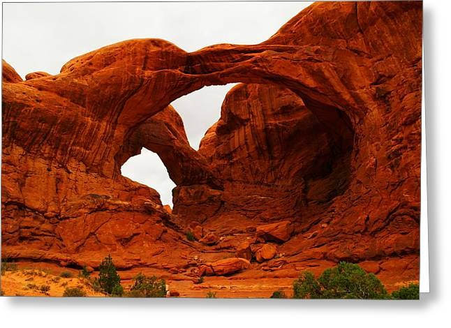 Southwestern Photography Greeting Cards - Double Arches Greeting Card by Jeff  Swan