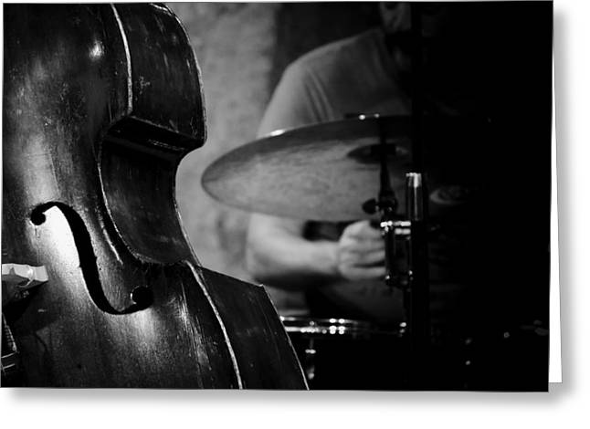 Cymbal Greeting Cards - Double Bass Jazz Greeting Card by Mountain Dreams