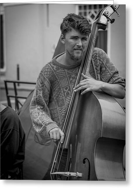Bass Player Greeting Cards - Double Bass Player Greeting Card by David Morefield