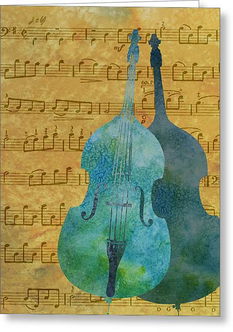 Clef Greeting Cards - Double Bass Score Greeting Card by Jenny Armitage