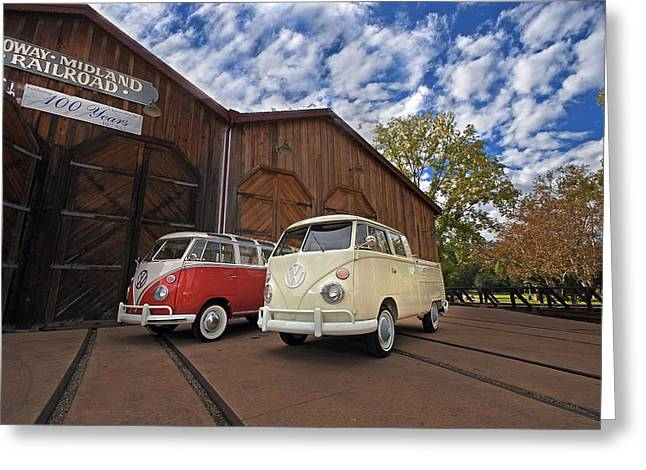 Volkswagon Greeting Cards - Double Cab and 23 Window Greeting Card by Peter Tellone