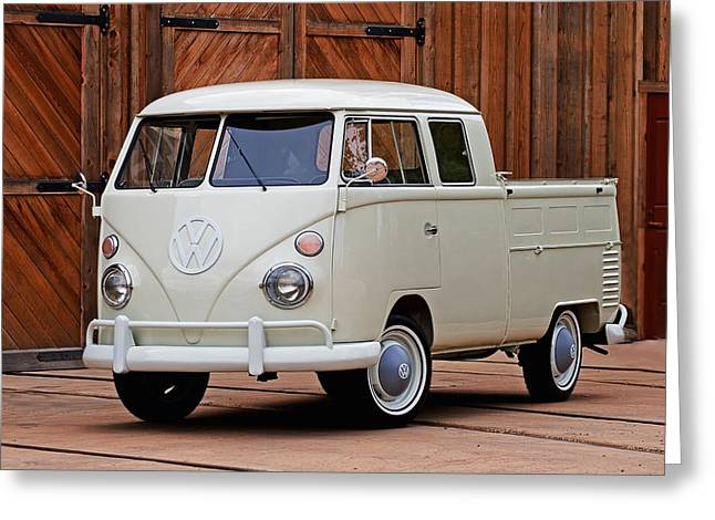 Double Cab Greeting Card by Peter Tellone