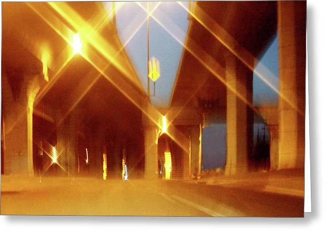 Double Deck Abstract Freeway Greeting Card by Linda Phelps