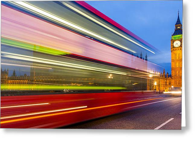 Long Street Greeting Cards - Double Decker and Big Ben Greeting Card by Adam Pender