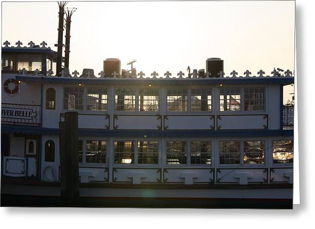 Boats At Dock Greeting Cards - Double Decker Beauty Greeting Card by G Johnson