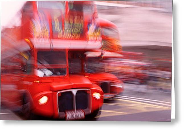 Acceleration Greeting Cards - Double Decker Bus, London, England Greeting Card by Panoramic Images