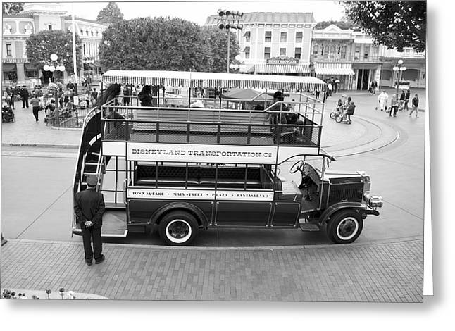 Princes Greeting Cards - Double Decker Bus Main Street Disneyland BW Greeting Card by Thomas Woolworth