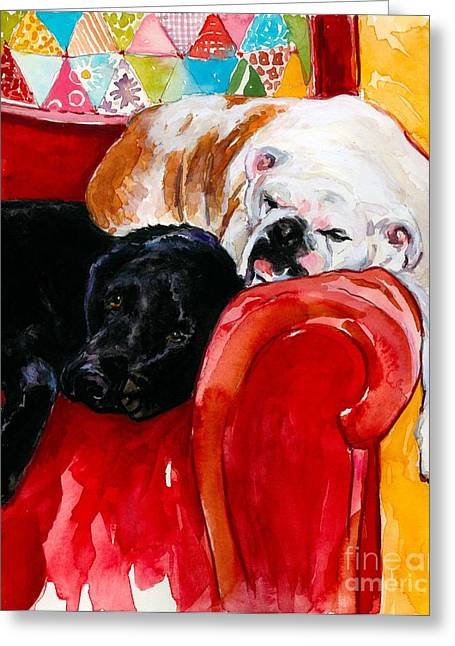 Bulldog Paintings Greeting Cards - Double Decker Greeting Card by Molly Poole