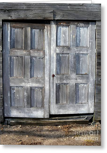 """oldest Wood Building"" Greeting Cards - Double Doors Greeting Card by Robert Riordan"