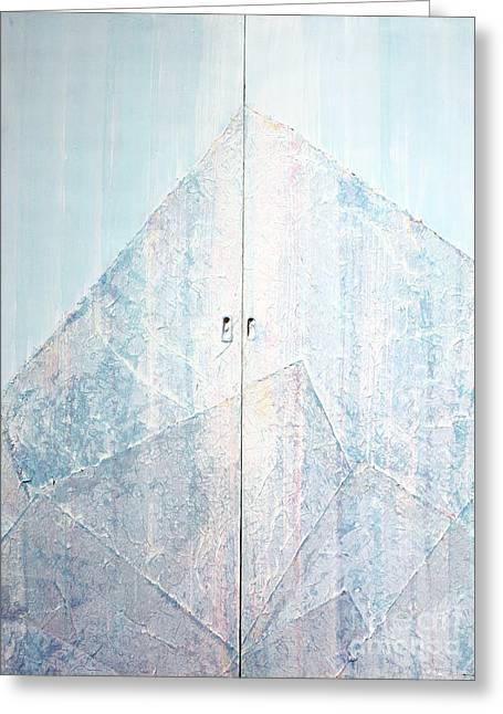 Double Doors To Peaceful Mountain Greeting Card by Asha Carolyn Young