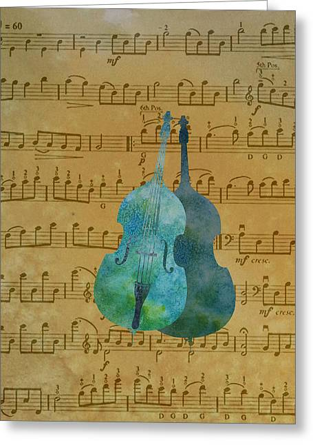 Clef Greeting Cards - Double Double Bass on Score Greeting Card by Jenny Armitage