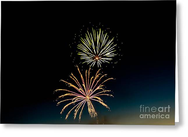 Purple Fireworks Greeting Cards - Double Fireworks Blast Greeting Card by Robert Bales