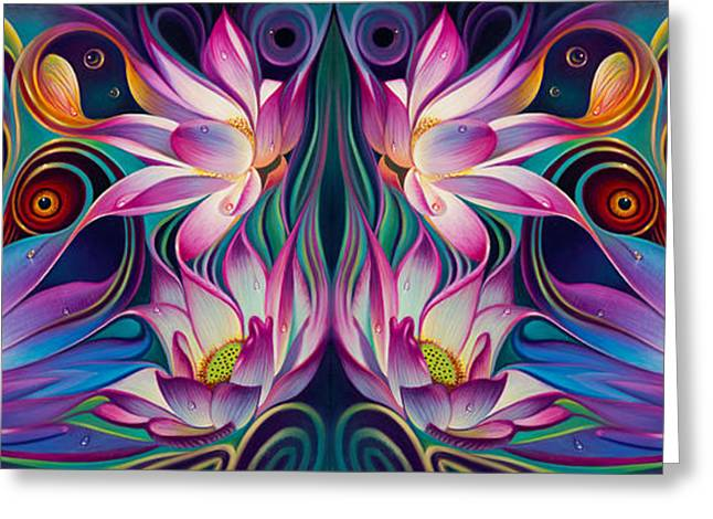 Curvismo Greeting Cards - Double Floral Fantasy 2 Greeting Card by Ricardo Chavez-Mendez