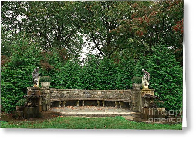 Stone Bench Greeting Cards - Double Fountains in the Skylands Greeting Card by John Rizzuto