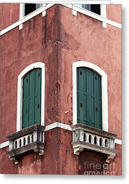 Red Buildings Greeting Cards - Double Green Greeting Card by John Rizzuto