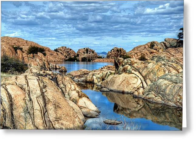 Willow Lake Greeting Cards - Double Header Greeting Card by Thomas  Todd