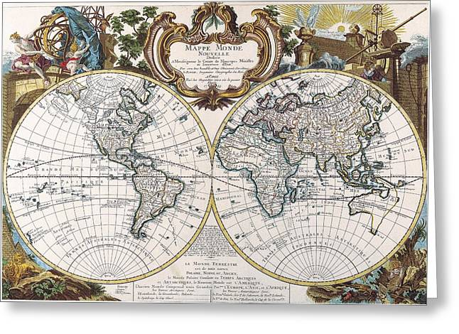 Cartography Mixed Media Greeting Cards - Double Hemisphere Map 1744 Greeting Card by Dan Sproul
