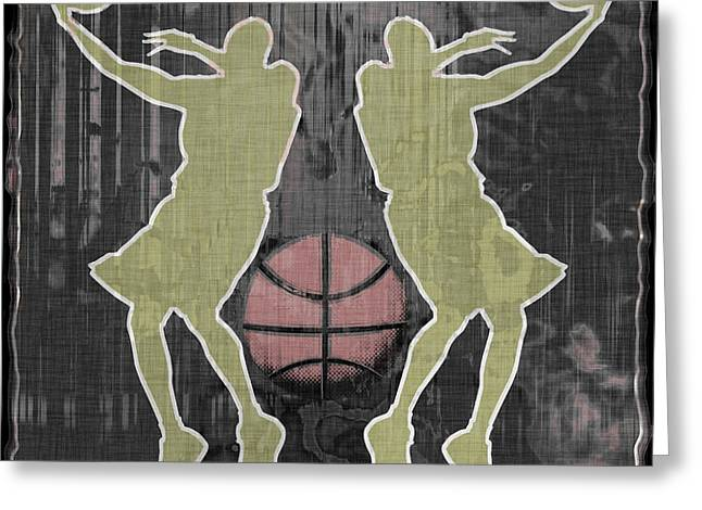 Basketball Abstract Greeting Cards - Double Hook Greeting Card by David G Paul