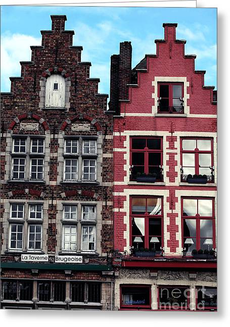 Red Buildings Greeting Cards - Double in Bruges Greeting Card by John Rizzuto