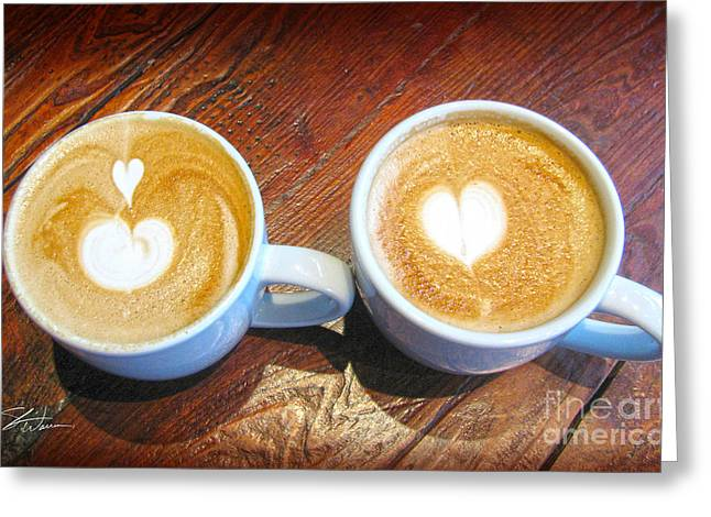 Latte Greeting Cards - Double Latte Love Greeting Card by Shari Warren