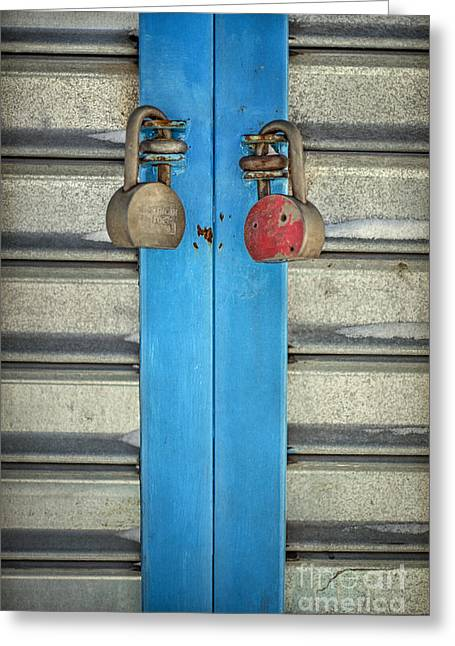 Padlock Greeting Cards - Double Or Nothing Greeting Card by Evelina Kremsdorf