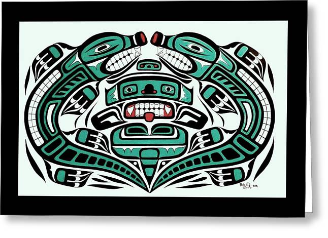 Fine Tapestries - Textiles Greeting Cards - Double Otter totemic Greeting Card by Bob Patterson