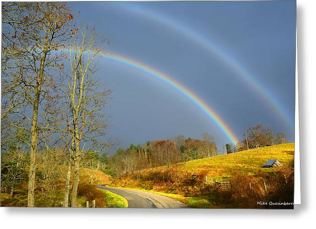 Double Rainbow Digital Art Greeting Cards - Double Promise Greeting Card by Mike  Quesinberry