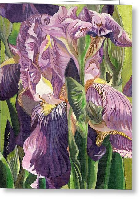 Alfred Ng Art Greeting Cards - Double purple Irises -painting Greeting Card by Alfred Ng