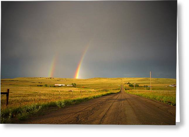 Double Rainbow Greeting Cards - Double Rainbow 07 11 14 Greeting Card by Joyce Dickens
