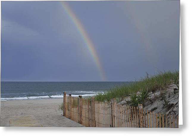 Double Rainbow Greeting Cards - Double Rainbow Beach Seaside Park NJ Greeting Card by Terry DeLuco