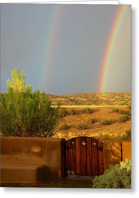 Double Rainbow Greeting Cards - Double Rainbow Beyond the Gate Greeting Card by Mary Lee Dereske