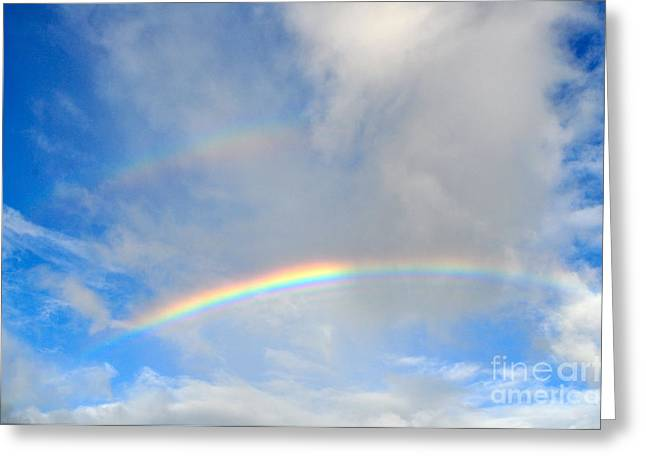 Double Rainbow Greeting Cards - Double Rainbow Bliss Greeting Card by Coralie Plozza