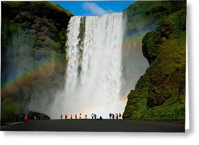 Double Rainbow Greeting Cards - Double Rainbow by Skogafoss Waterfall Greeting Card by Anthony Doudt