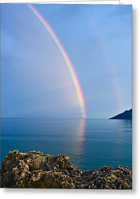 Double Rainbow Greeting Card by Christos Andronis
