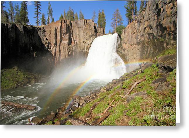 Double Rainbow Greeting Cards - Double Rainbow Falls Greeting Card by Adam Jewell