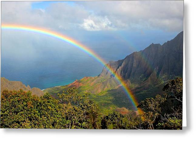 Double Rainbow Greeting Cards - Double Rainbow in Paradise Greeting Card by Tracey Rabjohns
