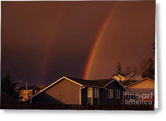 Double Rainbow Photographs Greeting Cards - Double Rainbow Greeting Card by Jim Corwin