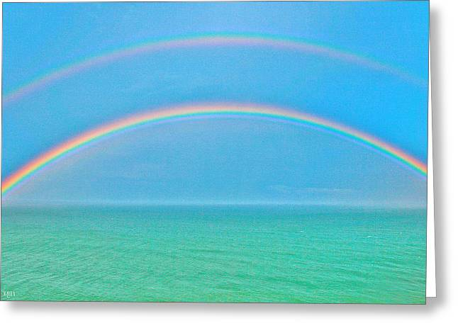 Double Rainbow Greeting Cards - Double Rainbow Greeting Card by Lorella  Schoales