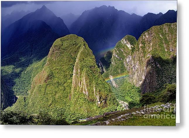 Double Rainbow - Macchu Pichu Peru Greeting Card by Jon Berghoff