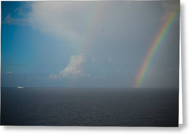 Double Rainbow Greeting Cards - Double Rainbow on the Mediterranean Sea Greeting Card by Anthony Doudt