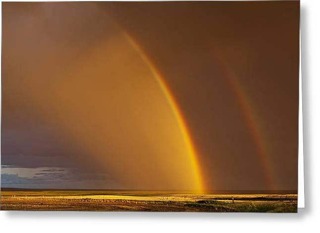 Double Rainbow Over A Prairie Field Greeting Card by Robert Postma