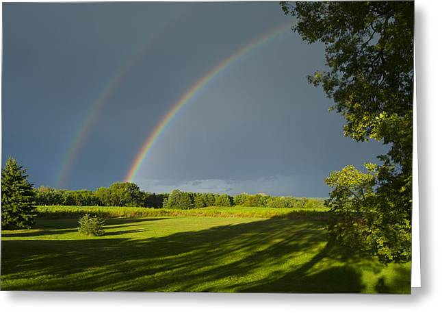 Double Rainbow Greeting Cards - Double Rainbow Over Fields Greeting Card by Lynn Hansen