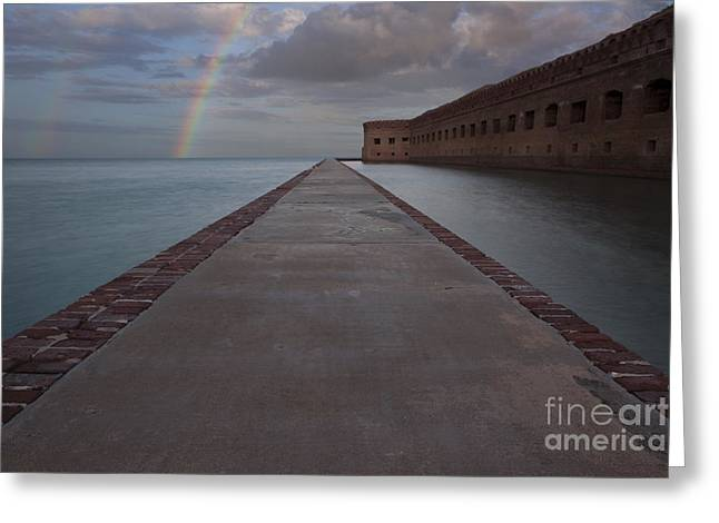 Double Rainbow Over Fort Jefferson Greeting Card by Keith Kapple